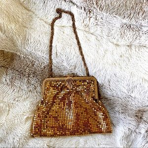 Vintage gold mesh chain evening bag